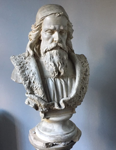 Bohemian Church Reformer Jan Hus Portrait Bust at Jan Hus Presbyterian Church. Photograph by M. K. Whitaker.