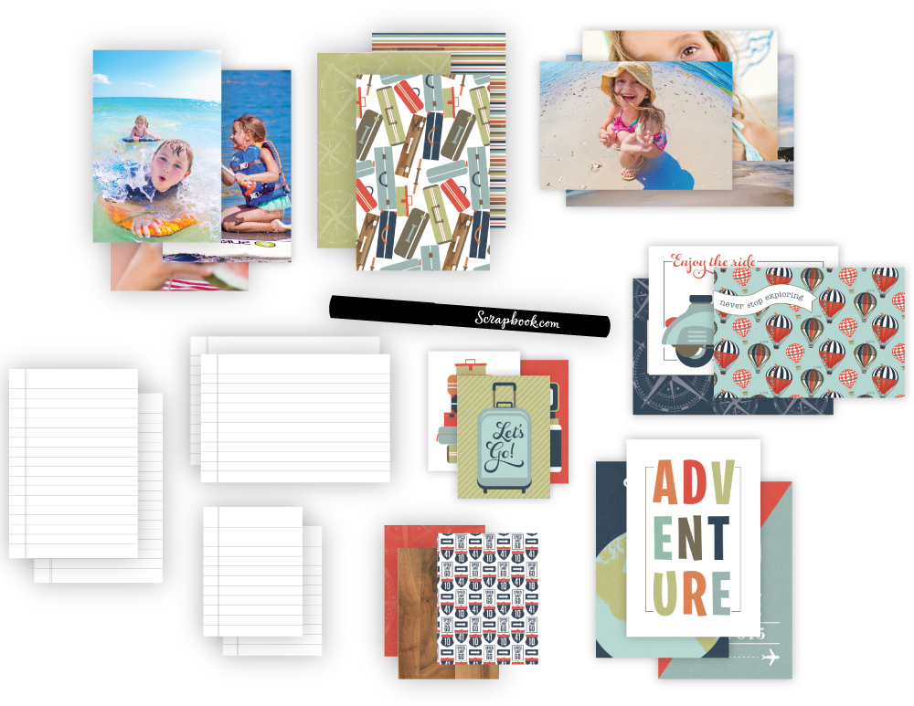 Step 1 - Organize and lay out your photos and the cards from the kit. Stack by size and orientation to make the next step easier.