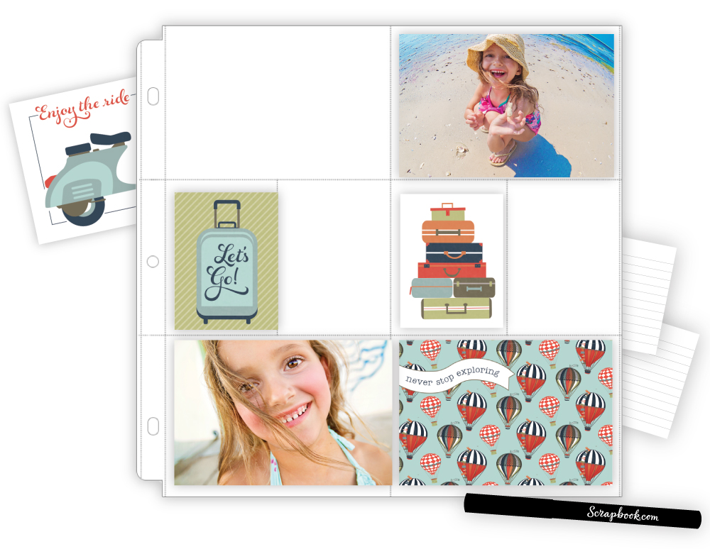 Step 2 - Add your photos to some of the pockets, and then add some of the fun cards in between.