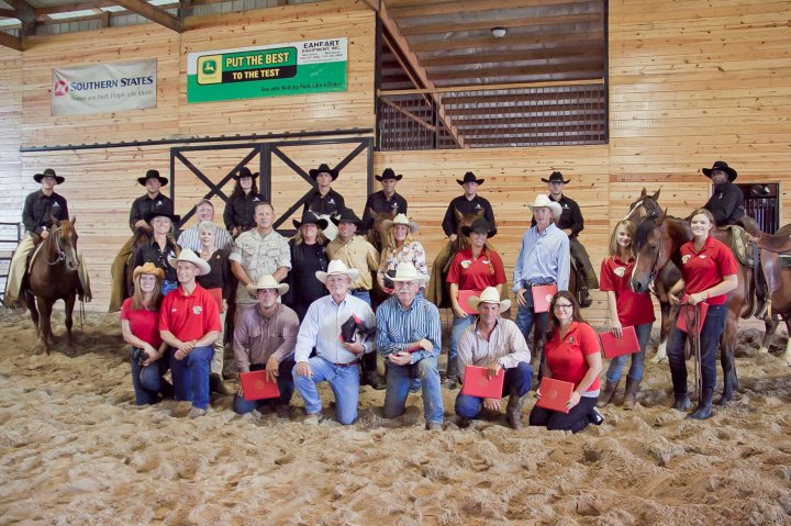 The Inagural Wounded Warrior Classic Cutting - Claire (last row, left) in Nokesville, VA with her Wounded Warrior program students/competitors (on horseback), sponsors and Marine Corps colonels.