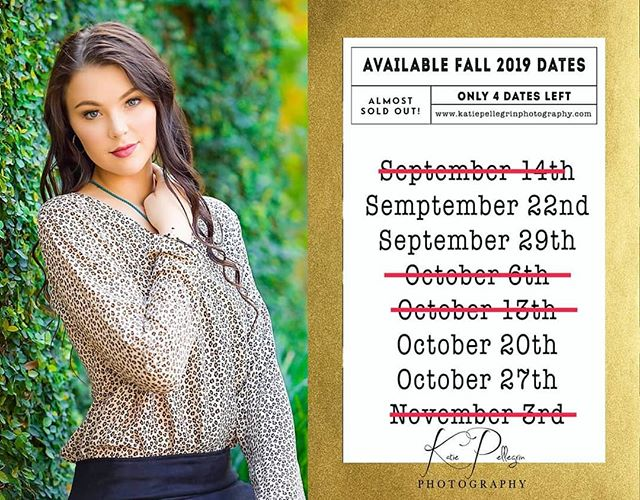 *** 2020 SENIORS*** Here is my 2019 FALL availability! Gorgeous portraits and an unforgettable experience! Please contact me now to secure your session before I sell out.  for more information and booking details DM or email me.  #seniorphotography #seniorpictures #classof2020 #fallisbookingfast #portraitphotography #katiepellegrinphotography