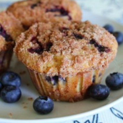 Blueberry Muffins - These super easy blueberry muffins from All Recipes are hard to mess up. We don't always use the streusel topping, but tastey either way.