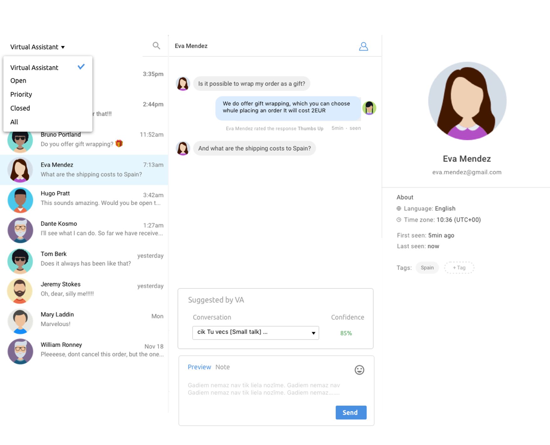 Seamless handoff - Regardless of how well trained the bot is, there may still be times when it needs to hand off the conversation to a human being. Chatsper chatbot can easily route the conversation to a live agent, so no question is left unanswered.