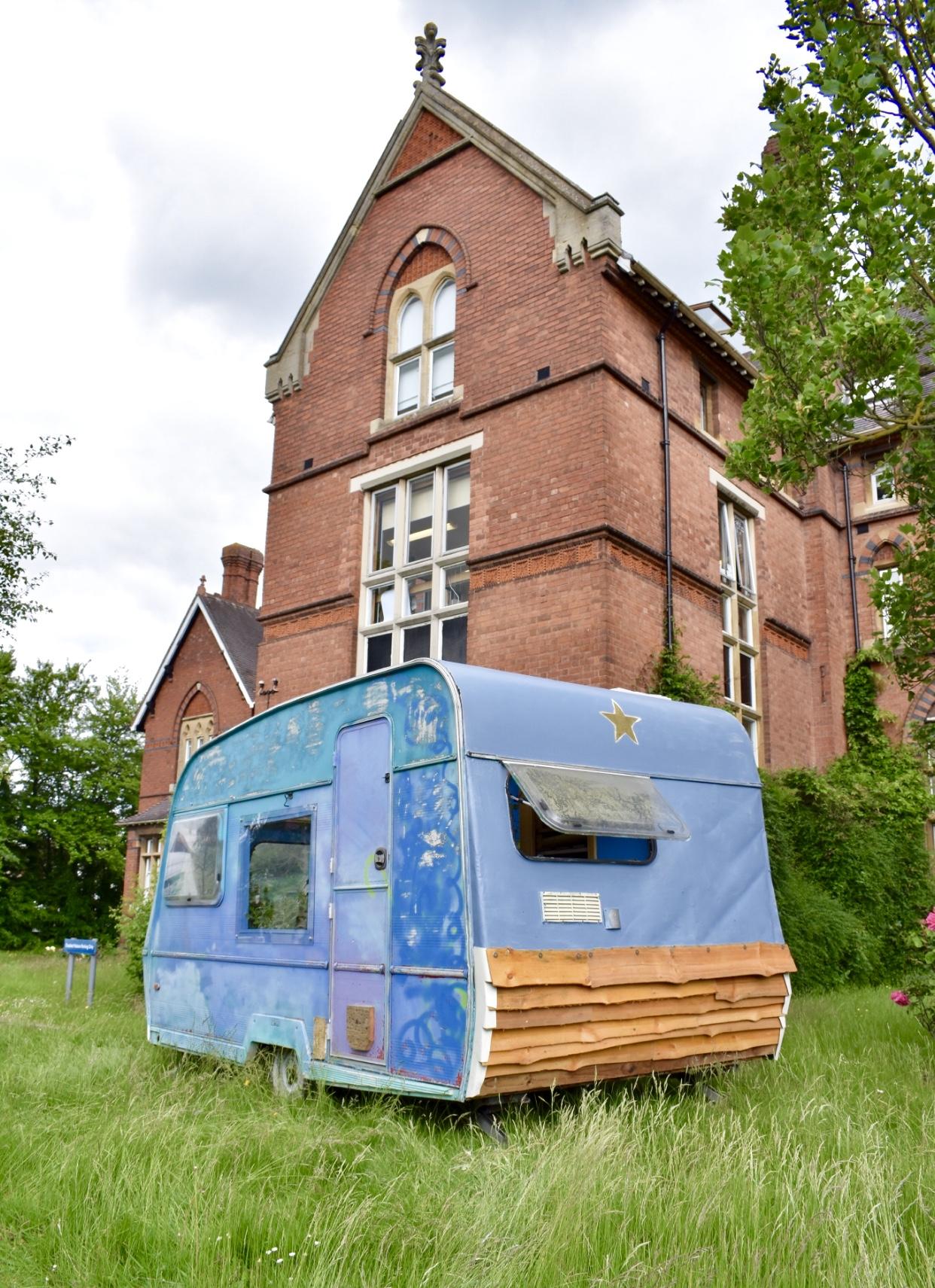Wanderlust caravan in situ at Hereford College of Arts, May 2019.
