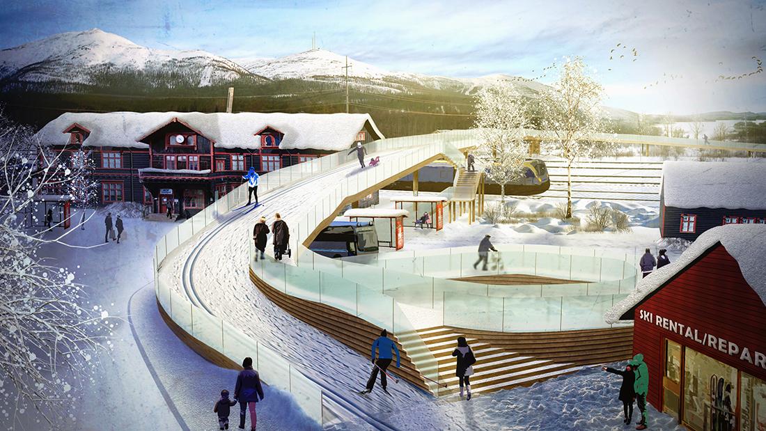 Vy mot stationen med ny Vinterbro