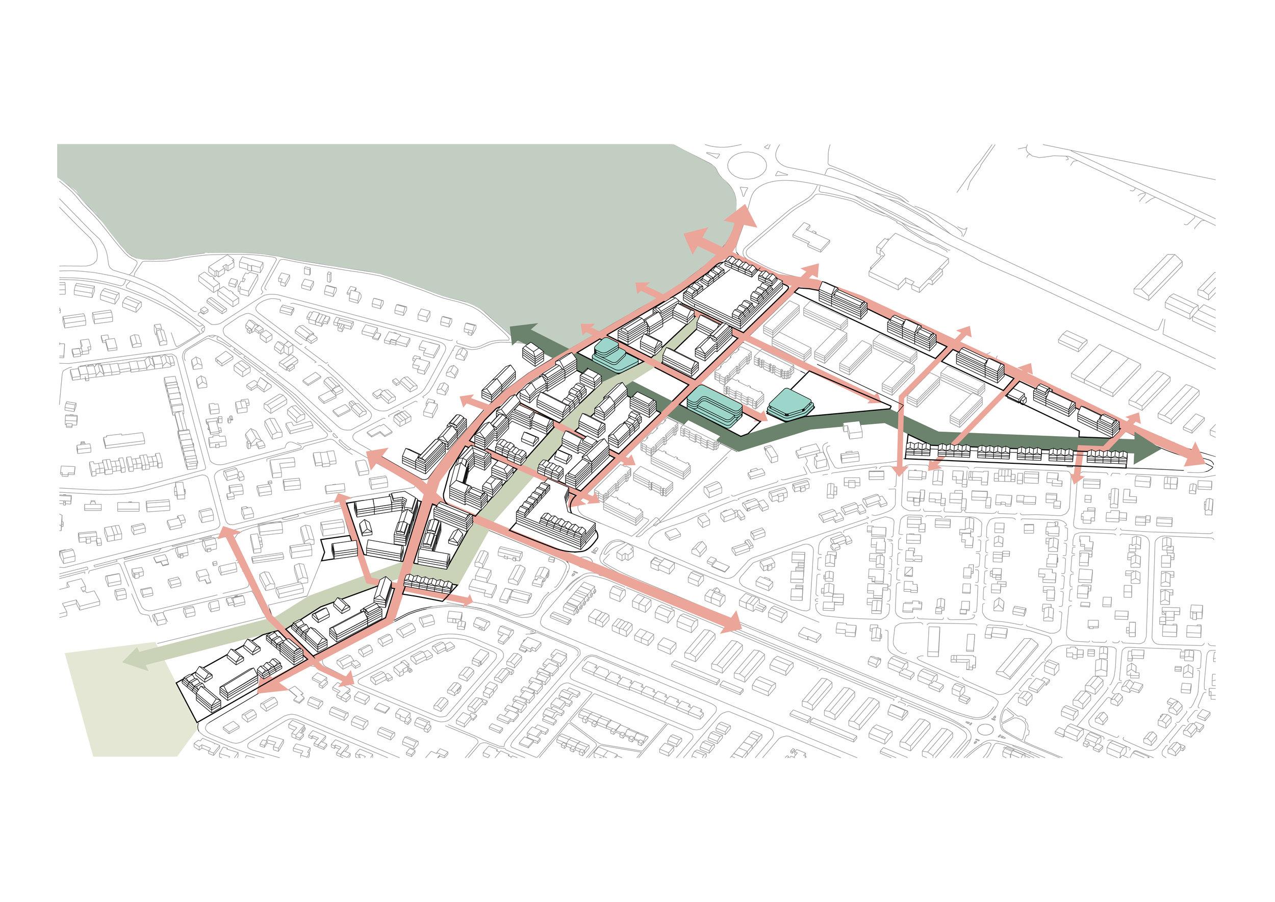 Länkar av naturmiljö, rekreation och dagvattenhantering, Kvartersstruktur för både stad och park.