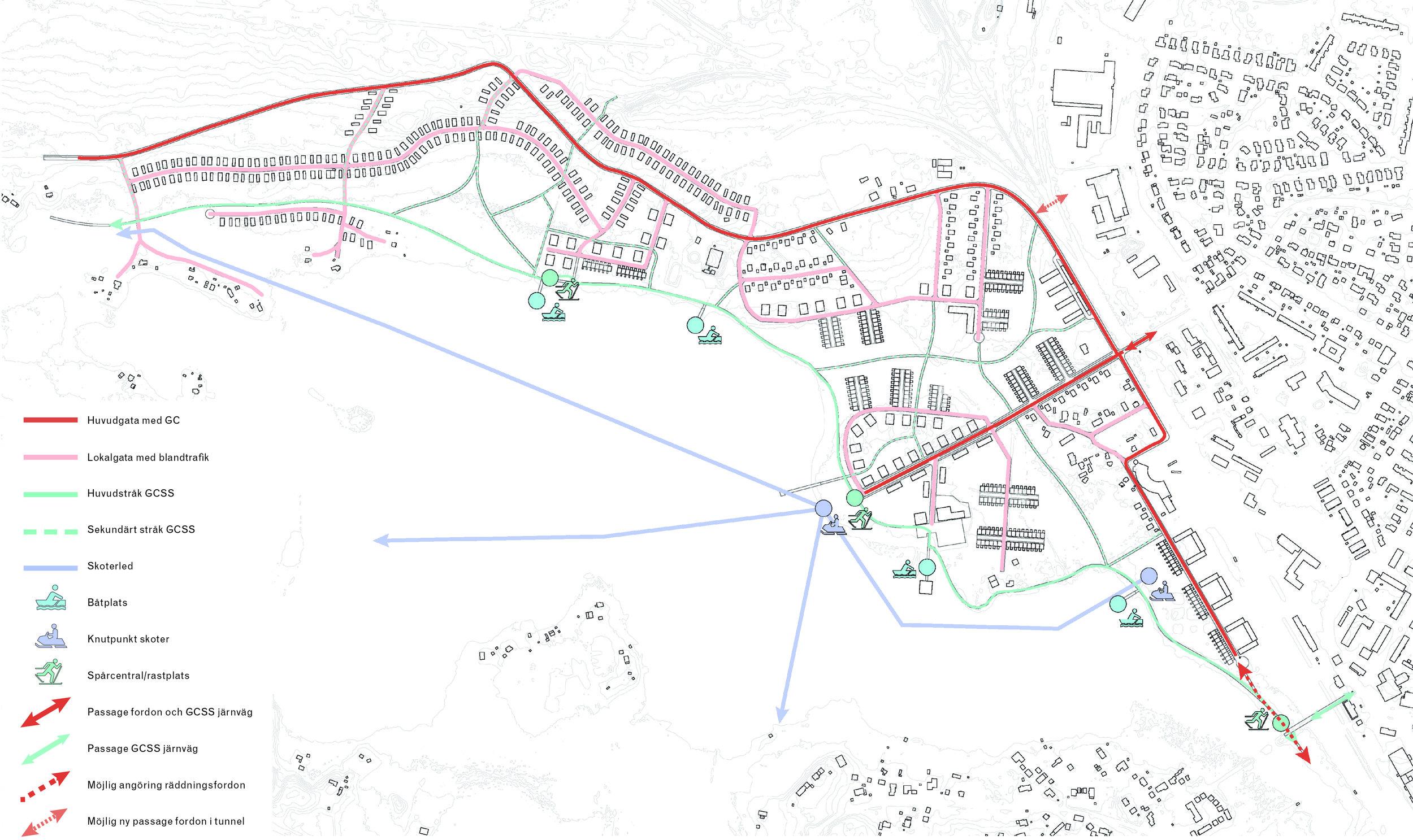 Planen tar även hänsyn till mjuka transportslag, så som spark, skidor, skoter och båt i enlighet med Grön-blå och vitstrukturplanen.