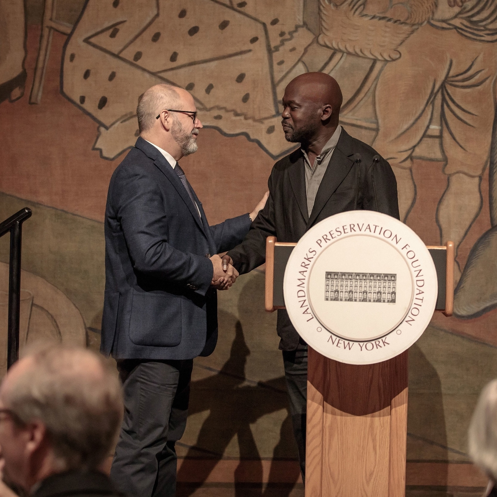 Left: Basil E. Walter. AIA,  Chair ,  New York Landmarks Preservation Foundation   Right: Sir David Adjaye OBE RA,  Architects/Director ,  Adjaye Associates ,  Speaker & Guest of Honor  at the 2018 Lunch at a Landmark held at the  New-York Historical Society