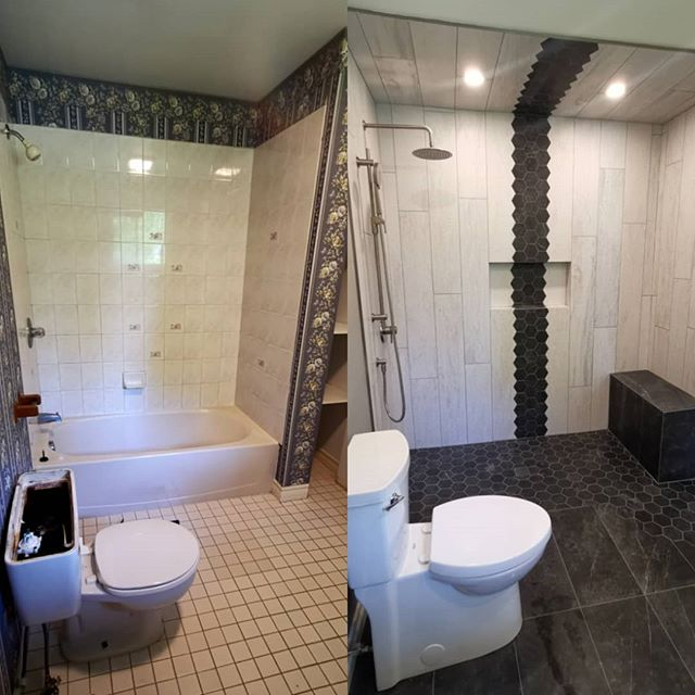 Before and after of a recent bathroom renovation.