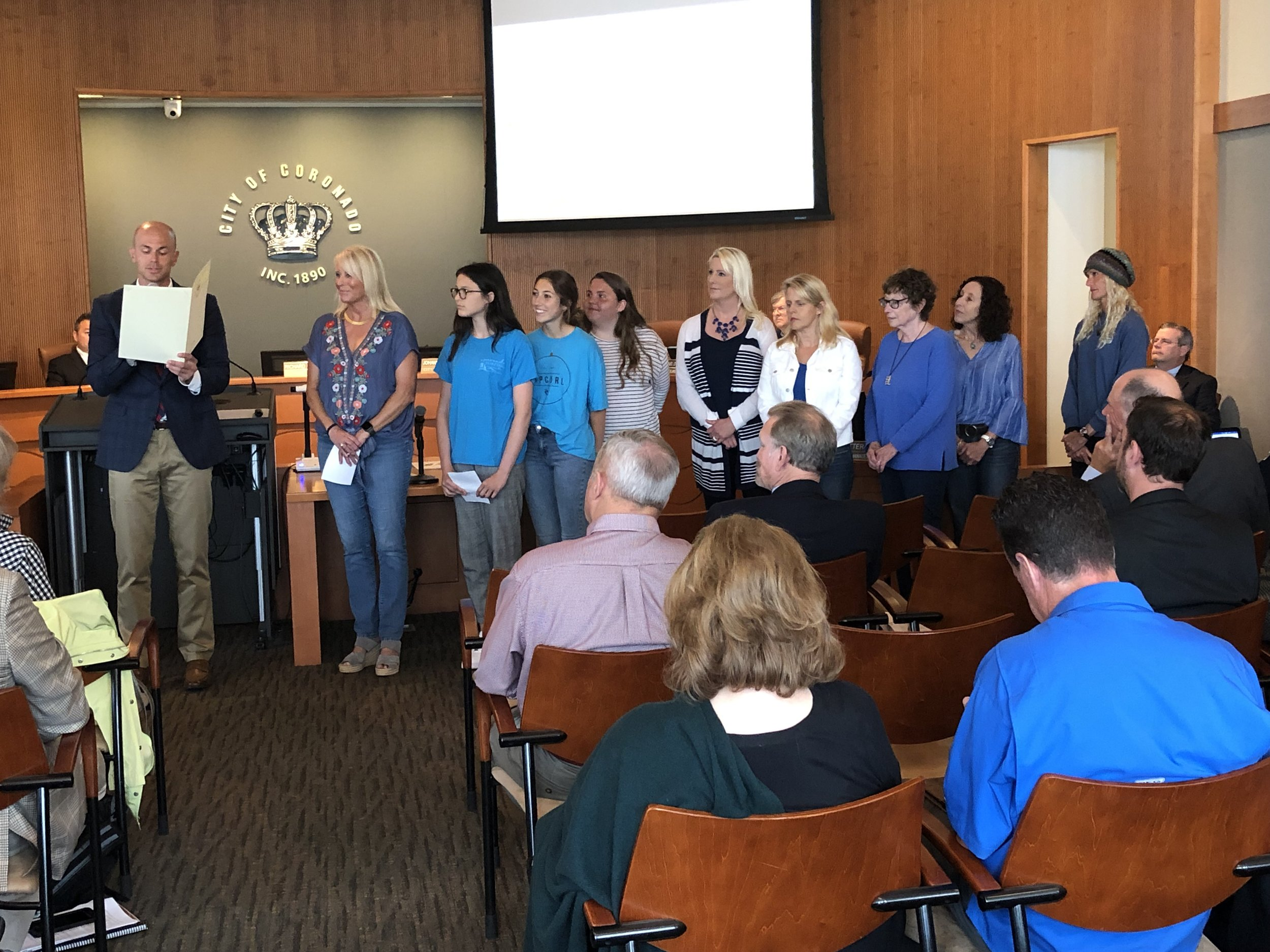 Mayor Richard Bailey reads his Proclamation as Emerald Keepers look on. To see the Proclamation, click below.