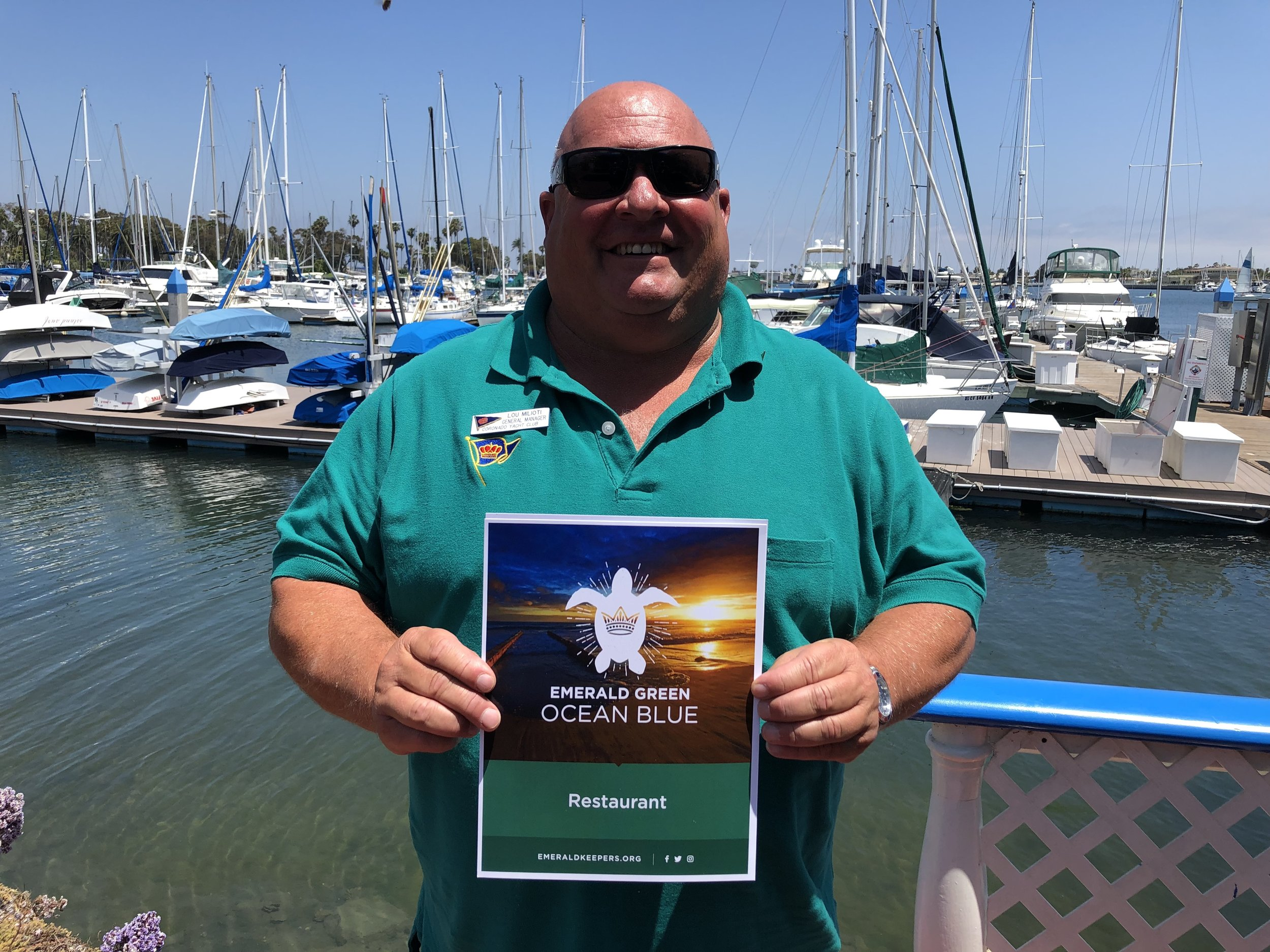 """""""The mission statement of the Coronado Yacht Club is to promote boating and the use of the natural environment that we have for yachting sports –sailing and fishing; and so it is natural for us to be good keepers of our environment and doing everything we can to protect the environment for generations to come.""""                                                                                                          - Lou Milioti, General Manager, Coronado Yacht Club"""