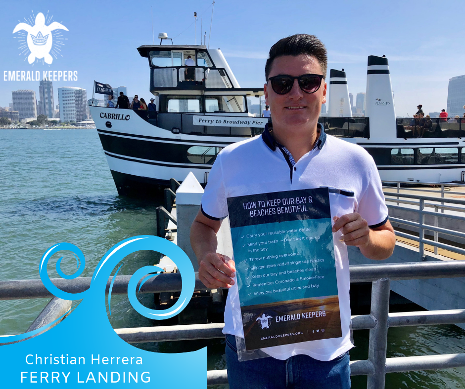 Christian Herrera holds one of the signs posted on the ferry!