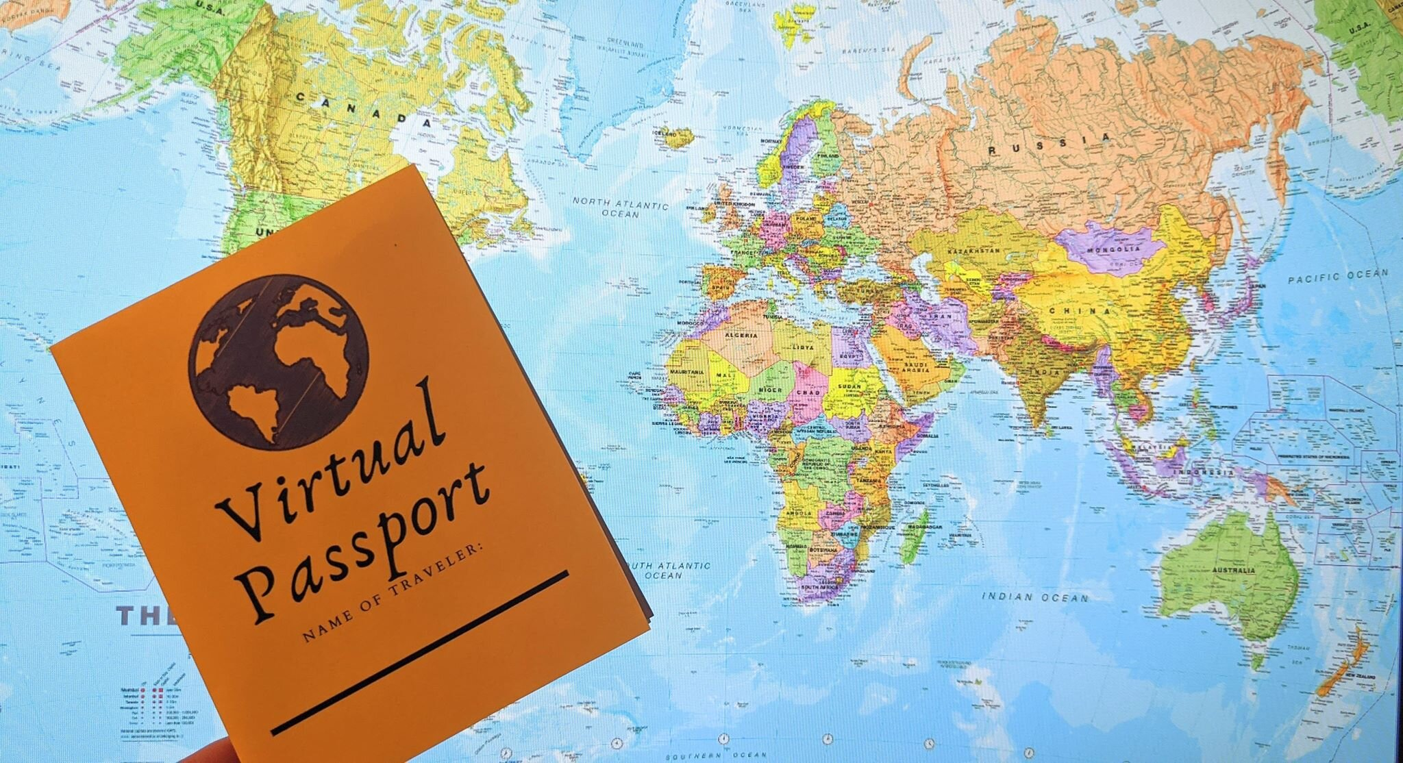 Virtual passport with the world map in the background.