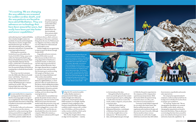 Magazine feature about the use of wearable heart monitors on Denali.