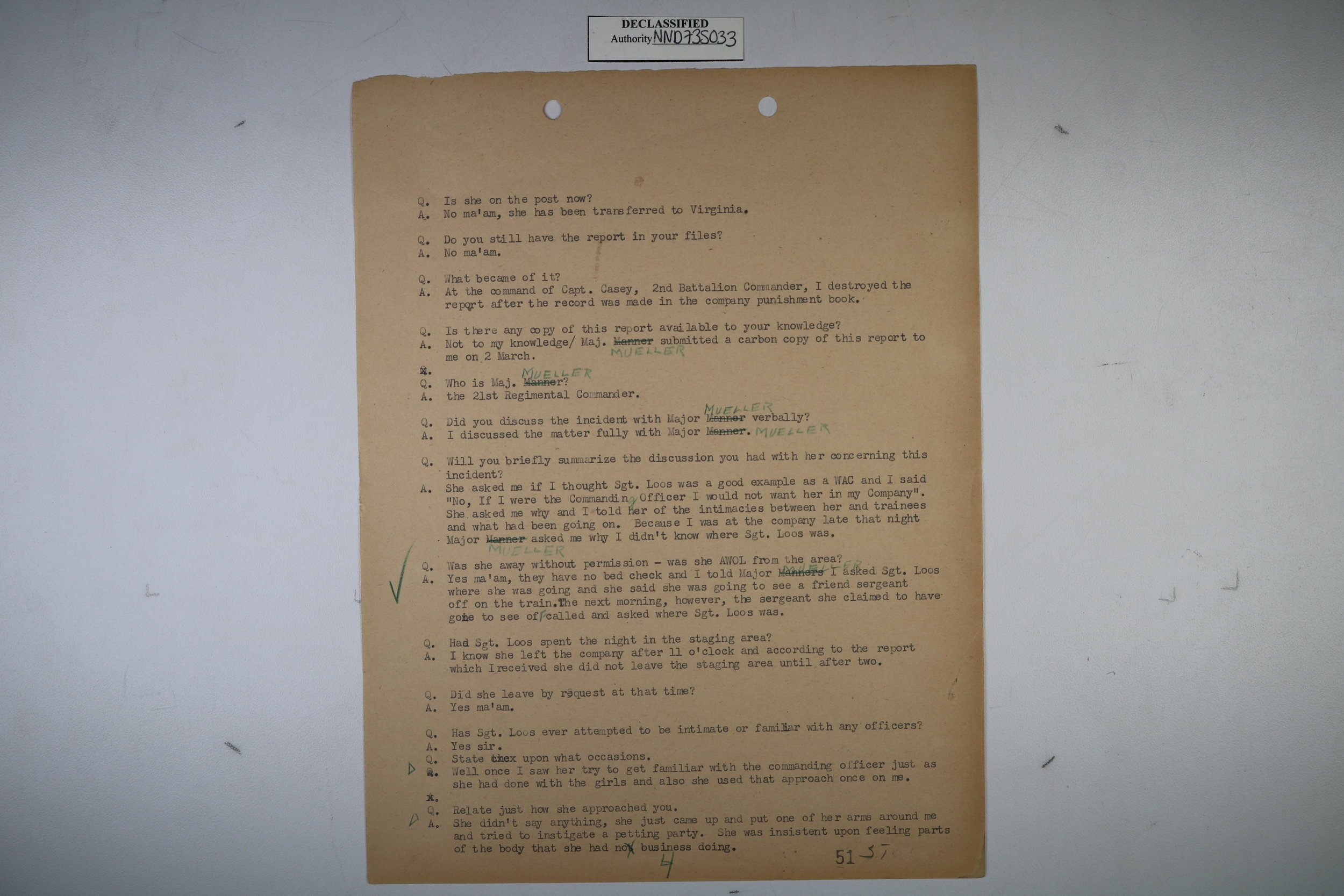 A page from the  Fort Oglethorpe Testimony : a secret trial conducted on women of the W.A.C. at Fort Oglethorpe, GA in 1945. This led to the imprisonment and discharge of a number of homosexual soldiers who were writing love letters.