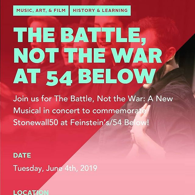 We're officially on the @nycpride website! #lgbtpride #stonewall50 #pride2019 #gay #gaypride #thebattlemusical #newmusical #newyork #nyc @54below