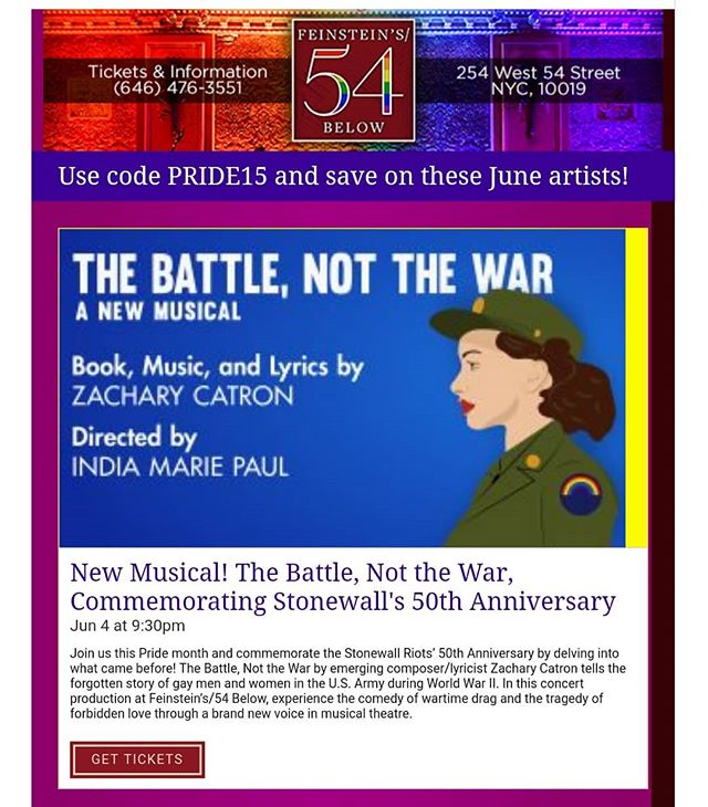 Haven't bought your ticket yet? No worries! There are some still available and you can get 15% off with the celebratory code PRIDE15! . . . . . #nyc #thebattlemusical #gay #lgbt #pride #pride2019 #worldpridenyc #stonewall50 #sale #tickets