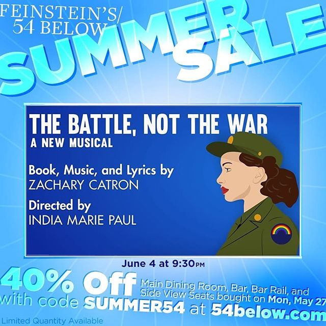 We're super excited to be a part of @54below's #summersale! 40% discount if you buy on Monday May 27! Don't forget there are still 2 drink tickets available for the next two people who buy tickets! . . . . . . . #sale #tickets #freedrinks #giveaway #thebattlemusical #gay #nyc #nyctheatre #broadway #offbroadway #cabaret #pride #stonewall50