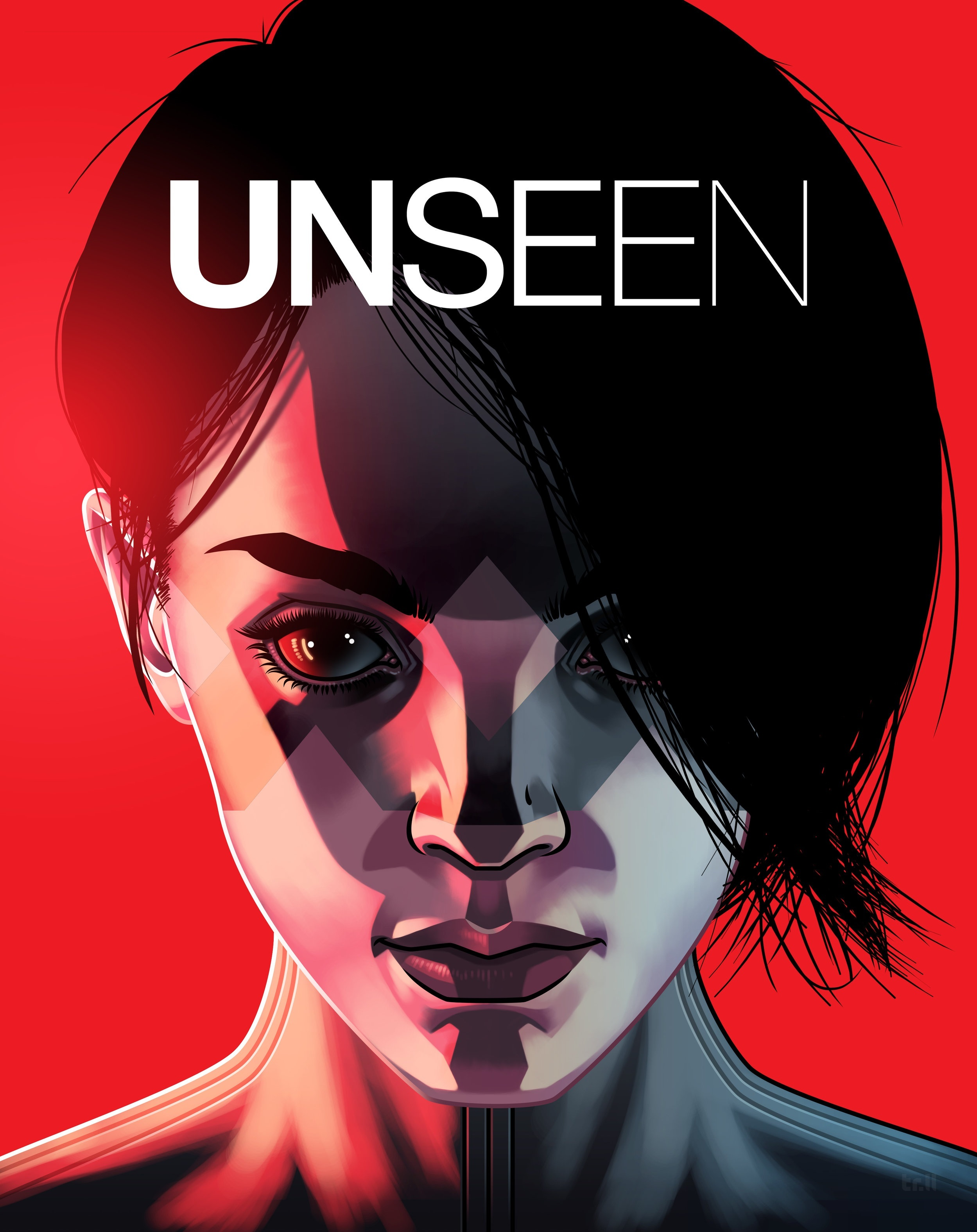 Cover: The word unseen in bold letters, slowly fading as the word ends. A women's face: young, confident, focused. Her dark hair is swept to the side covering one eye. Underneath is a mask extending down her face forming two X's over her eyes which are black as Obsidian. This is Afsana, the heroine of Unseen.