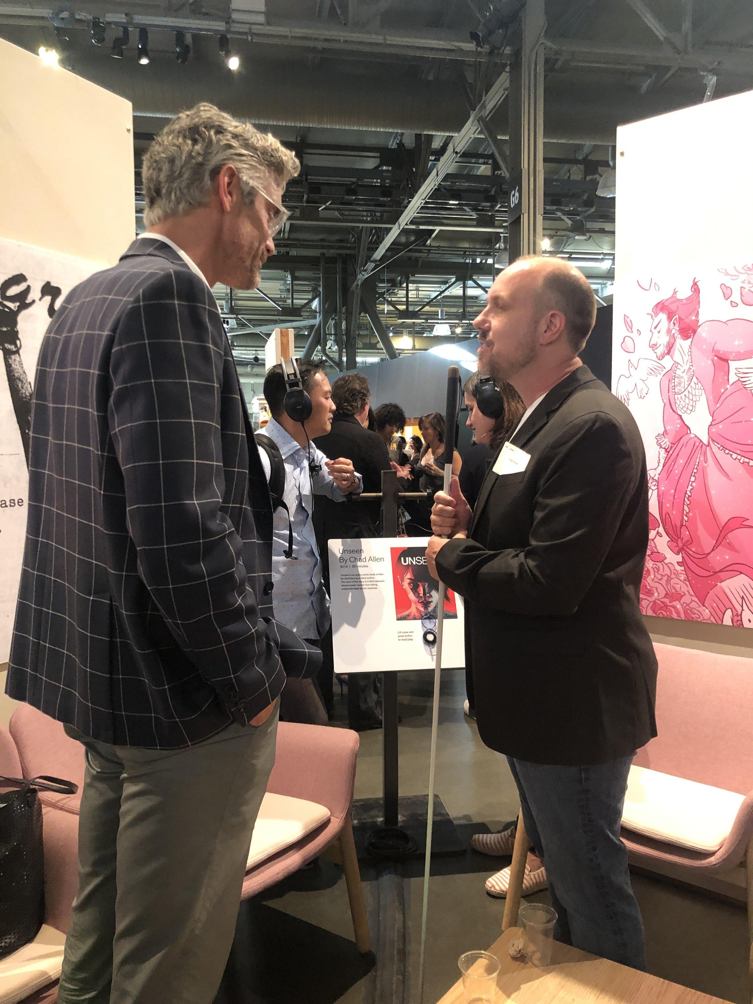 Chad Allen, author talking with Chris Flint, Executive Director of the Exploratorium