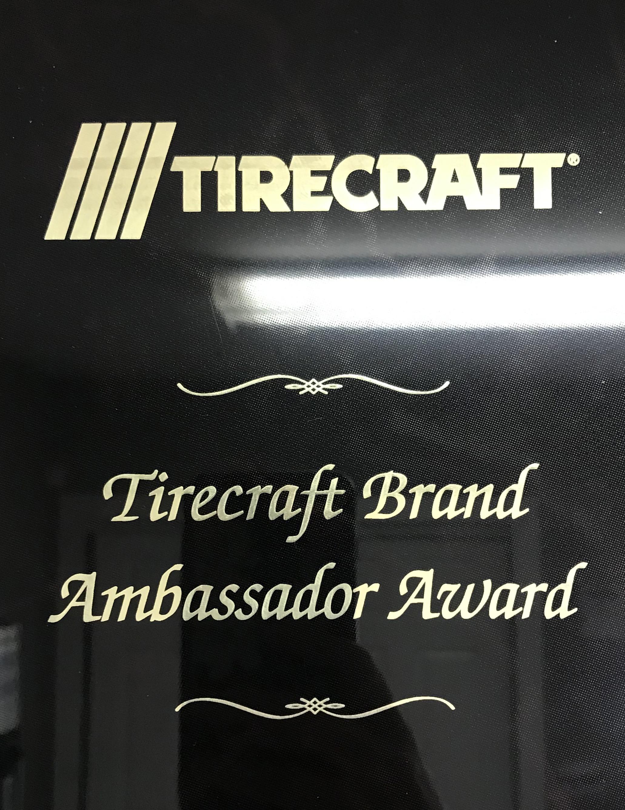 Brand Ambassador Award - Good 2 Go Tirecraft Auto Centre