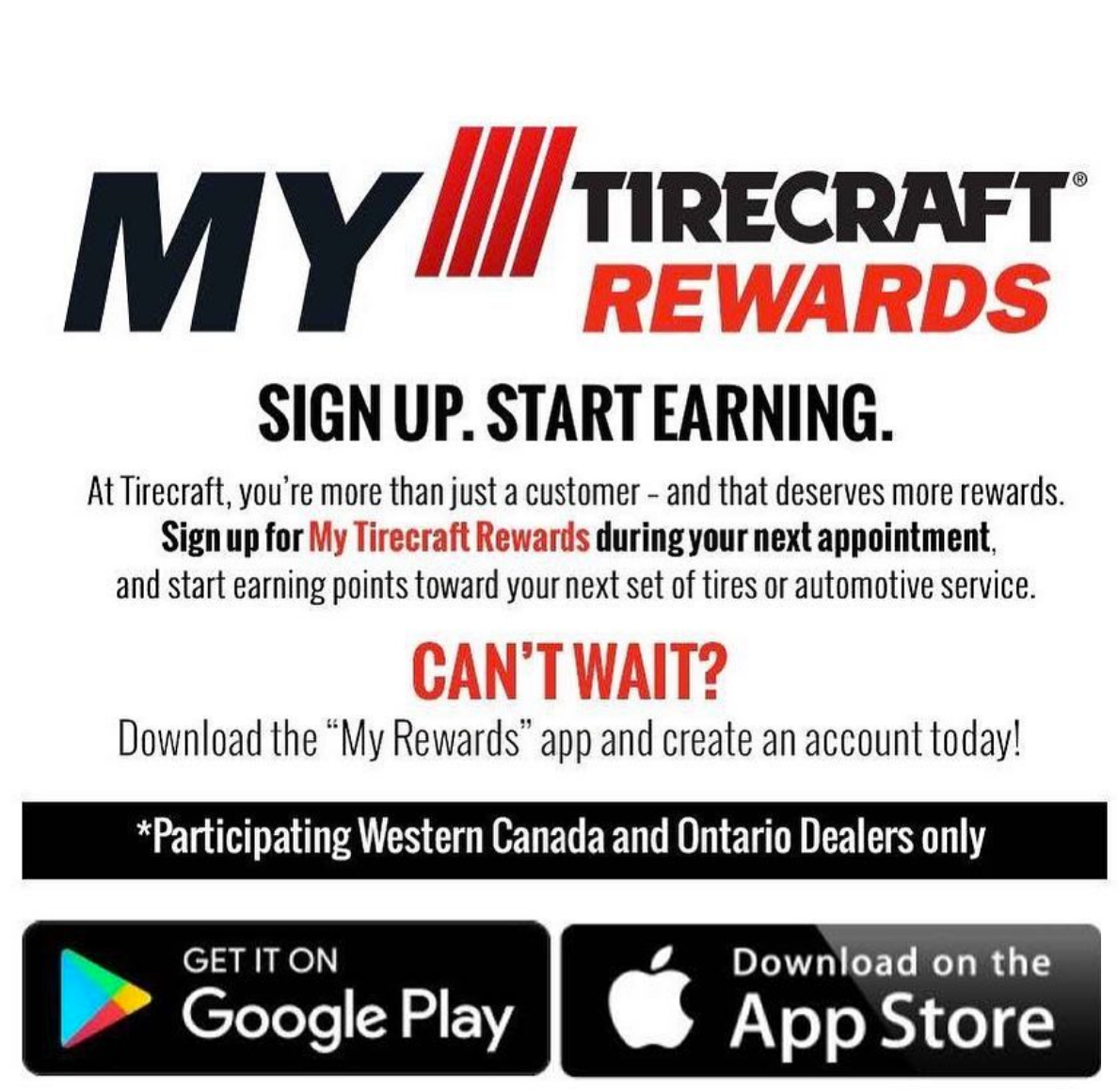 My Tire Craft Rewards - Good 2 Go Tirecraft Auto Centre