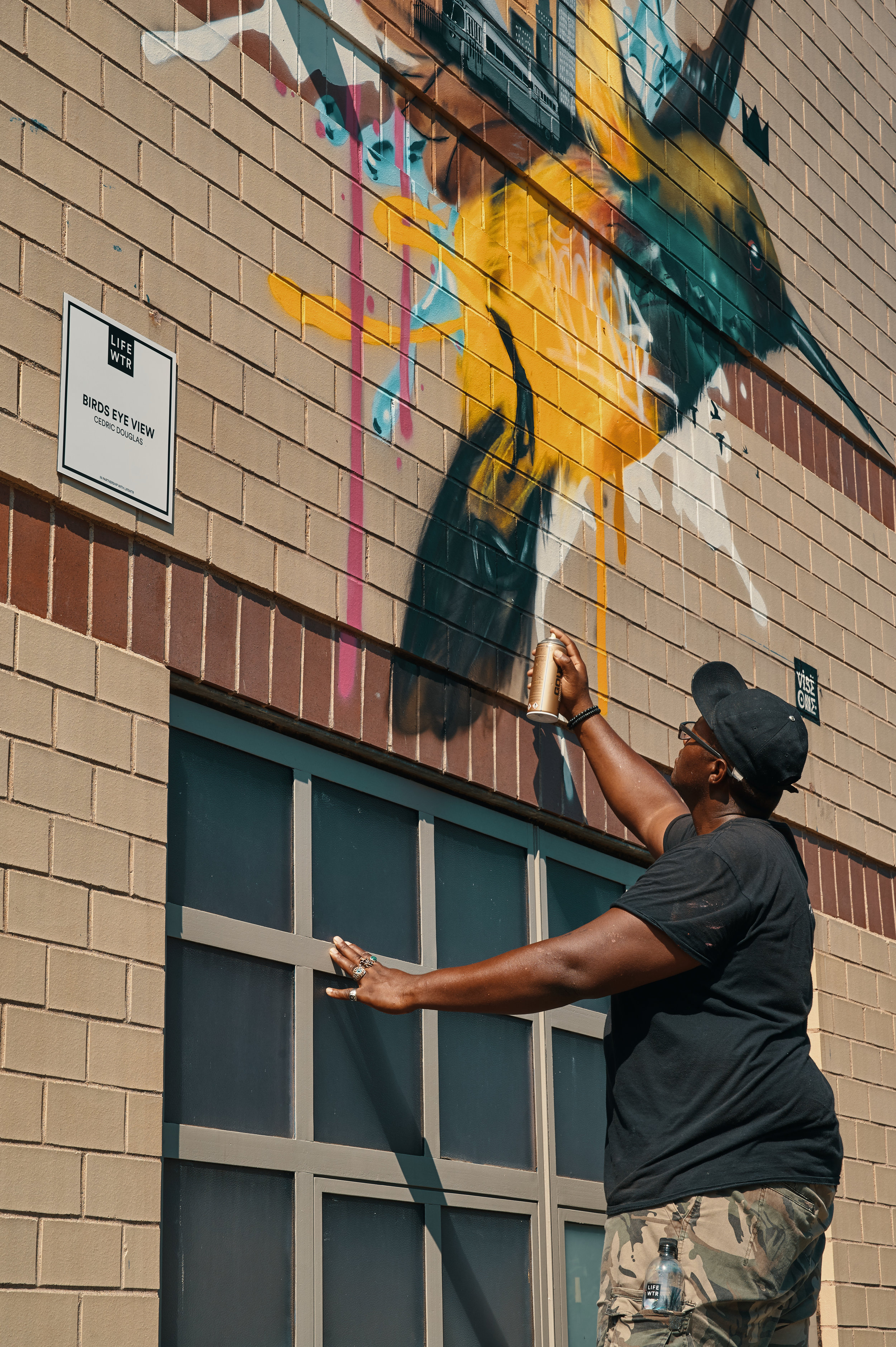 Cedric Douglas putting the finishing touches on his mural.