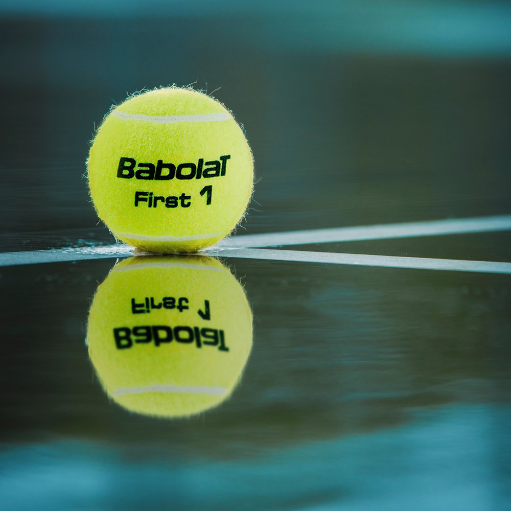 Babolat First, a vegan tennis ball approved by the International Tennis Federation (ITF) for tournament play, available at Sheeps. Most tennis balls use wool.