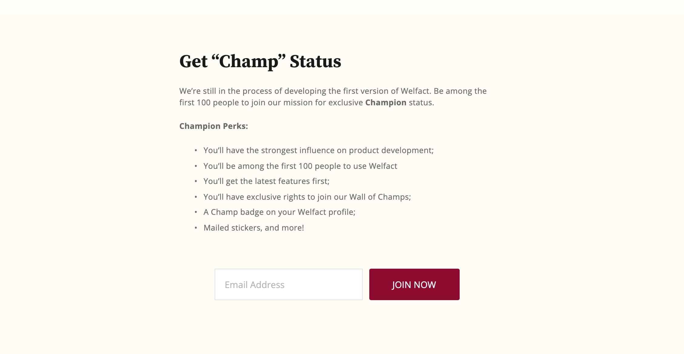Welfact Marketing Website - Champ Status, Before
