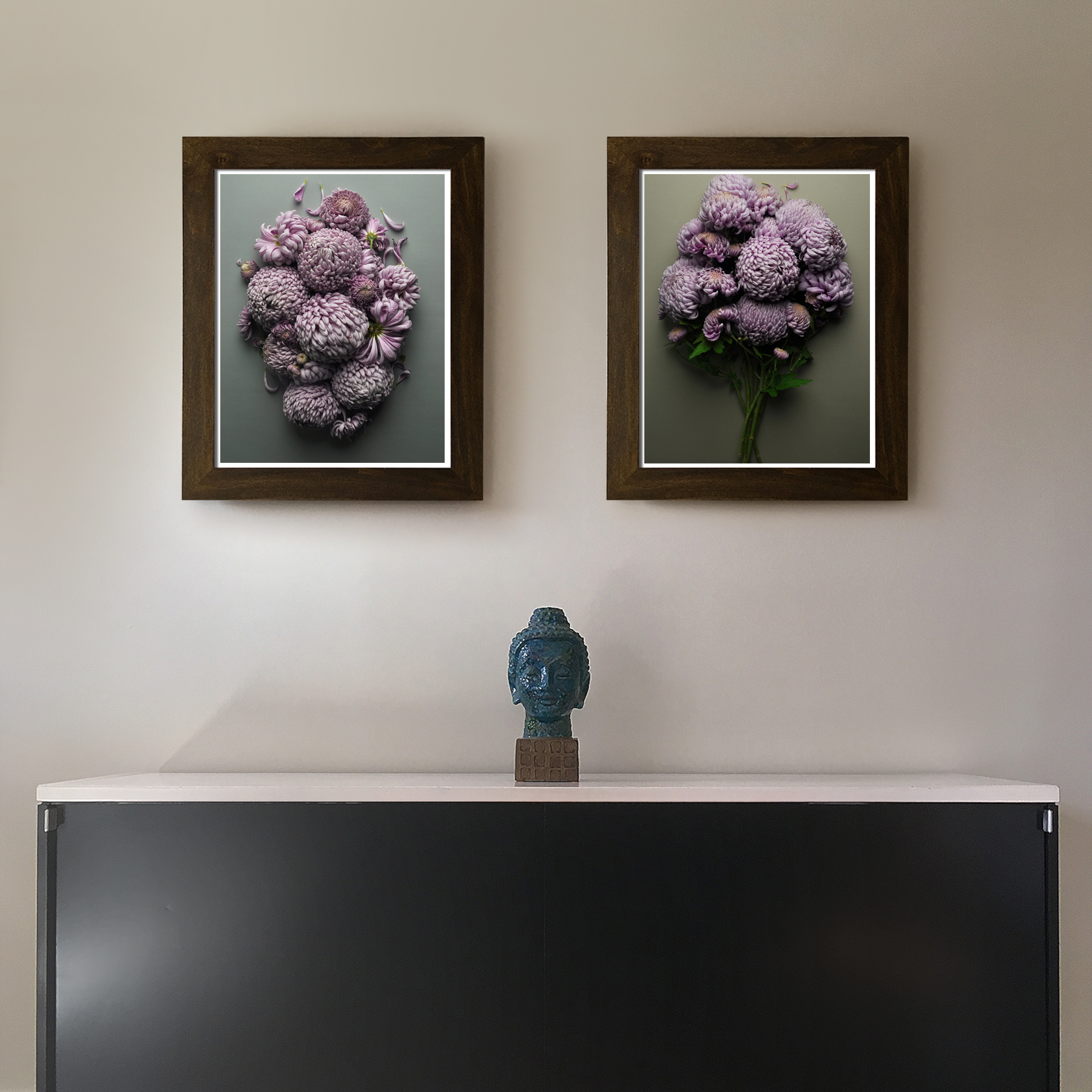 Mums and More Mums Over the Credenza