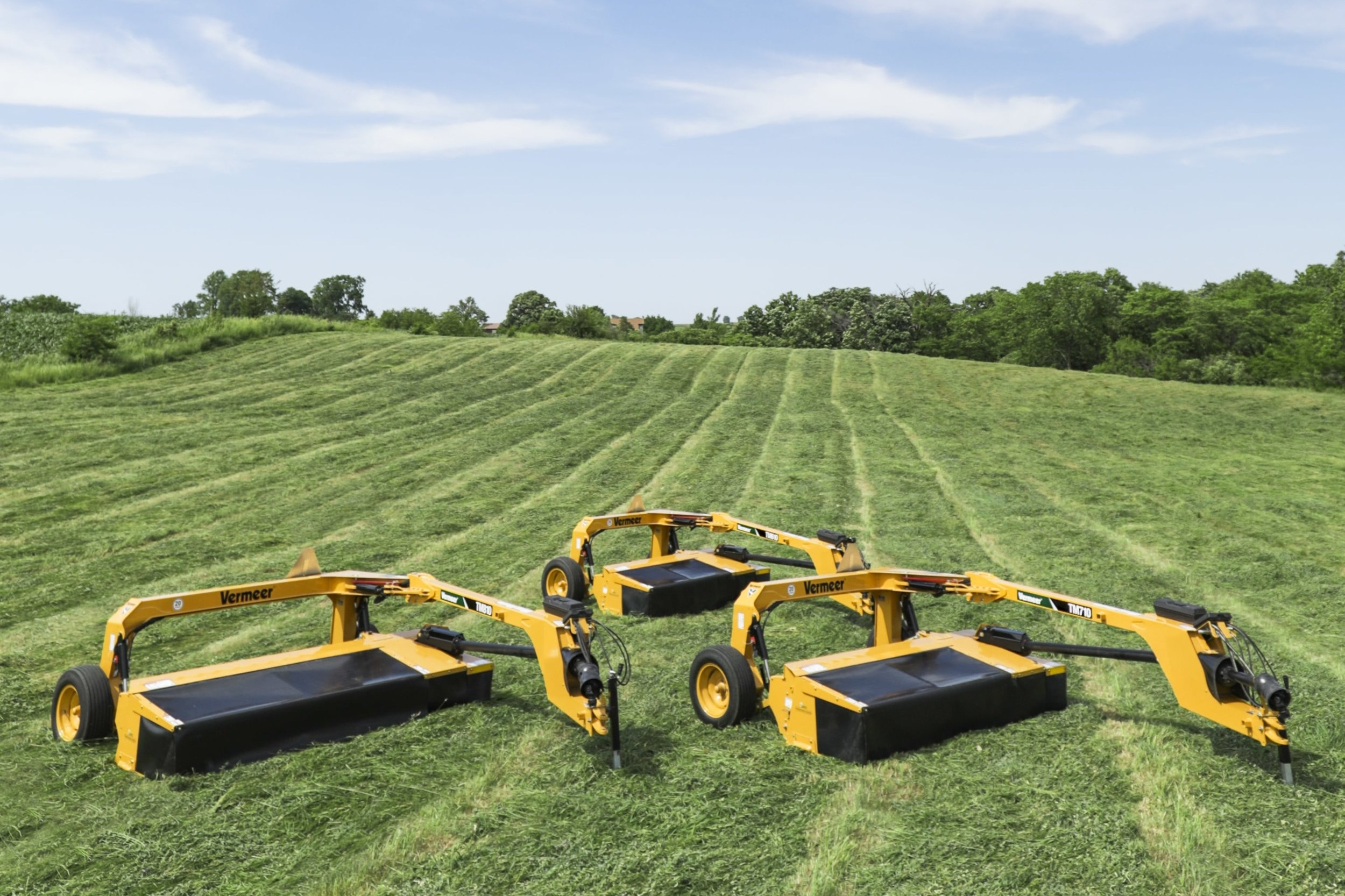 Trailed Mowers - Vermeer redesigned the way trailed mowers attach to tractors, using an easy as a drop of a pin hook-up system and plenty of other innovative features.