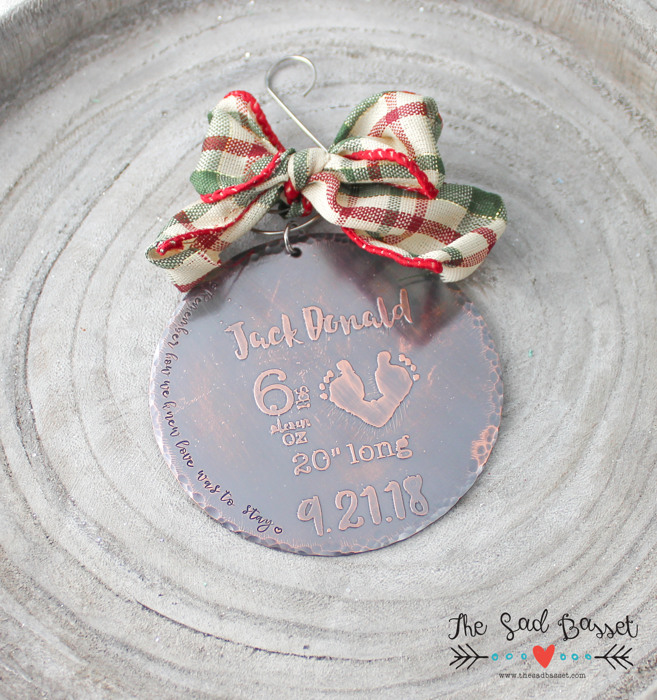 Etched Copper Birth Announcement Ornament