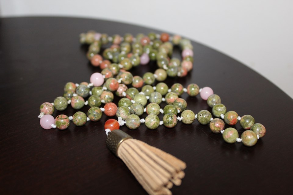 Unakite & Rose Quartz with Carnelian Guru Bead- $80- SOLD - Made with Pure Love by Jacqueline in her hometown: Austin, TX