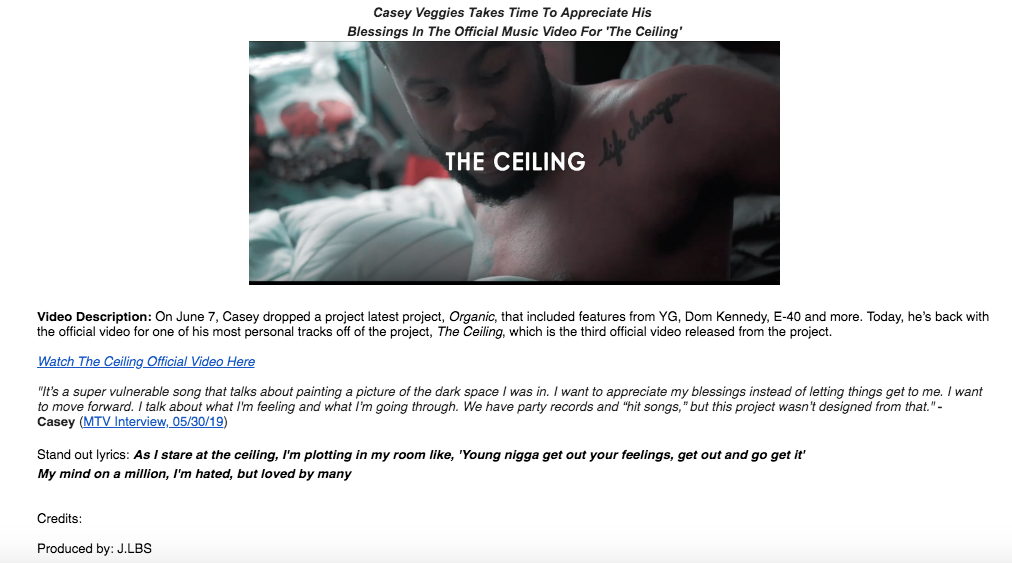 "Here's the body of the pitch email for Casey Veggies new video ""The Ceiling"""
