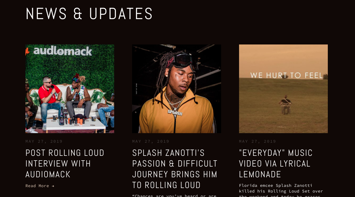 Here's a screenshot of the NEWS section on Splash Zanotti's website that he keeps updated with recent press.