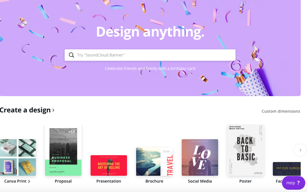 This is what you'll see when you're on the Canva dashboard.