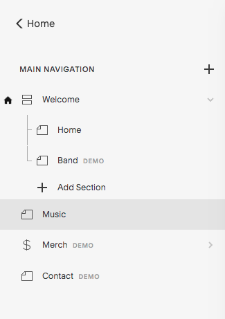 """As you can see, we changed the new page name to """"Music"""" and we moved it down. It's now below the """"welcome"""" index and before the """"merch"""" page."""