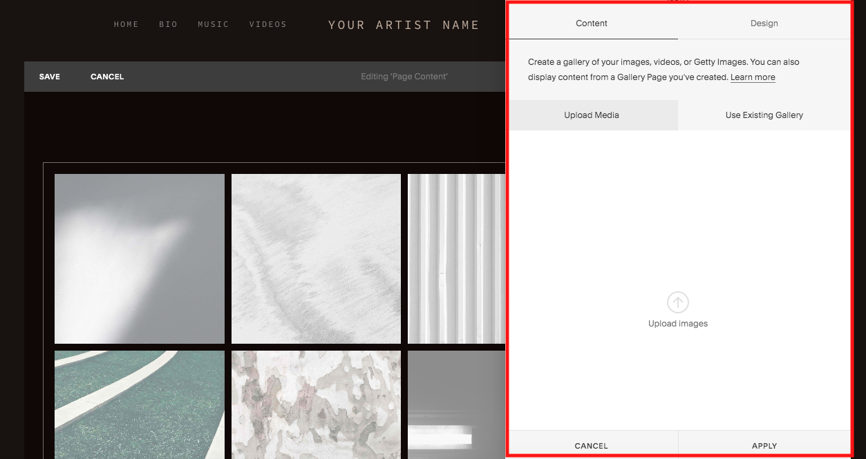 """This is how our screen looks when we click to add a """"grid"""" gallery."""