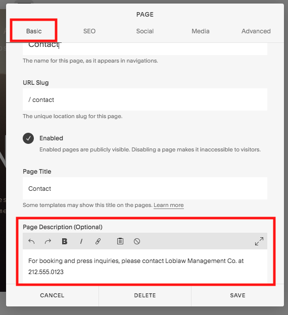 Change the header text by editing the PAGE DESCRIPTION.