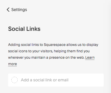 This is what you will see once you click on SETTINGS - SOCIAL LINKS.