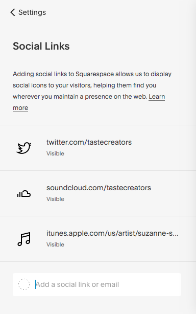 Add links to all of your social networks and streaming channels.