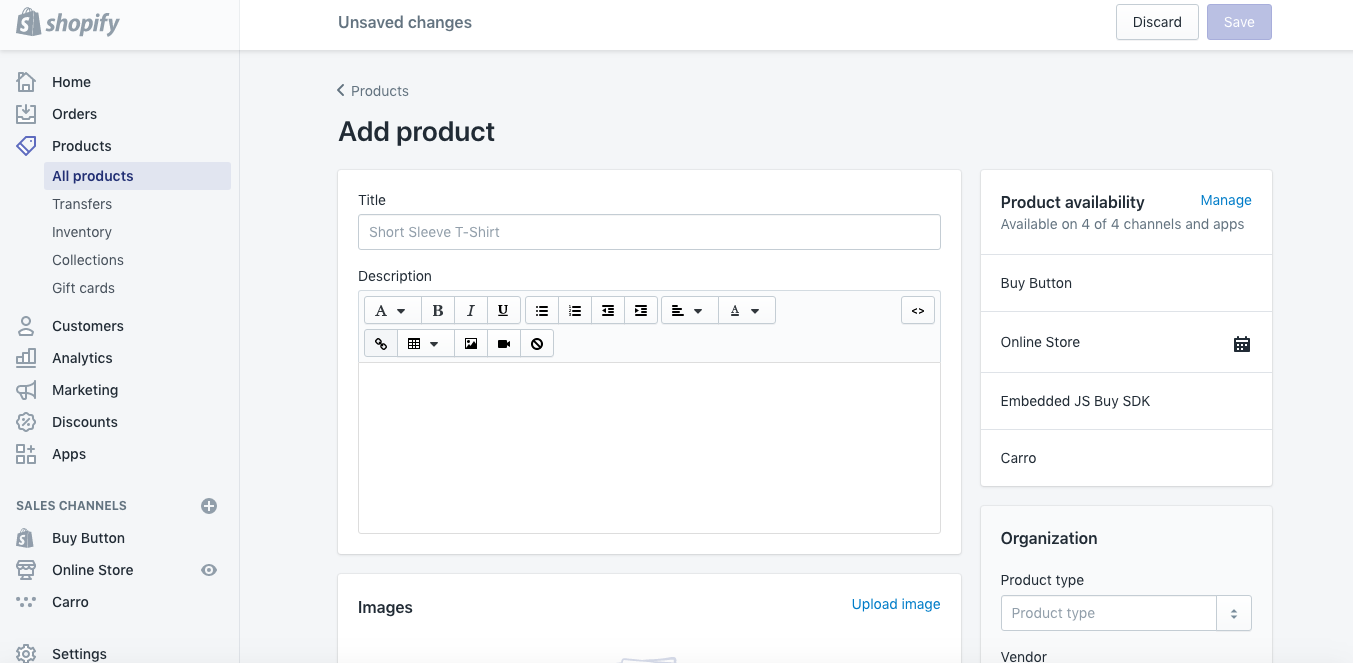 This is the screen you'll see when you click on PRODUCTS - ADD PRODUCT. On this screen is where you'll add all of your product details.