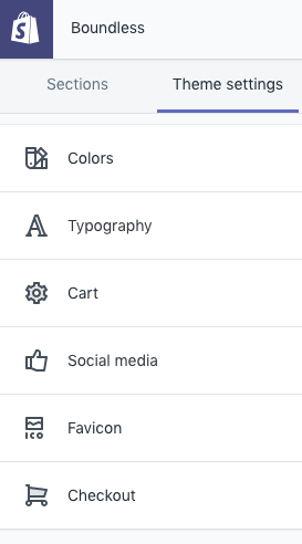 """Once you click on """"theme settings"""" you'll see these options."""