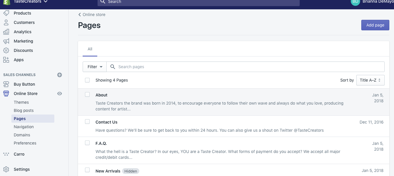 """This is our pages dashboard. As you can see we added an """"about"""" page, a """"contact us"""" page and a """"FAQ"""" page."""