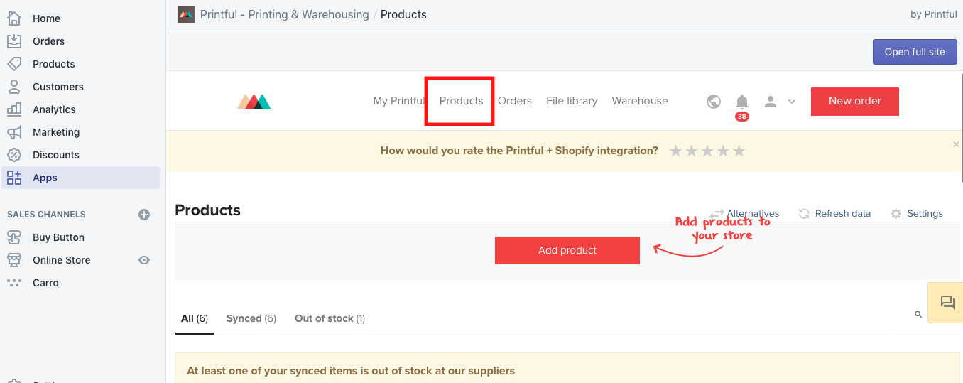 """This screen appears once you click """"products"""" (outlined in red)."""
