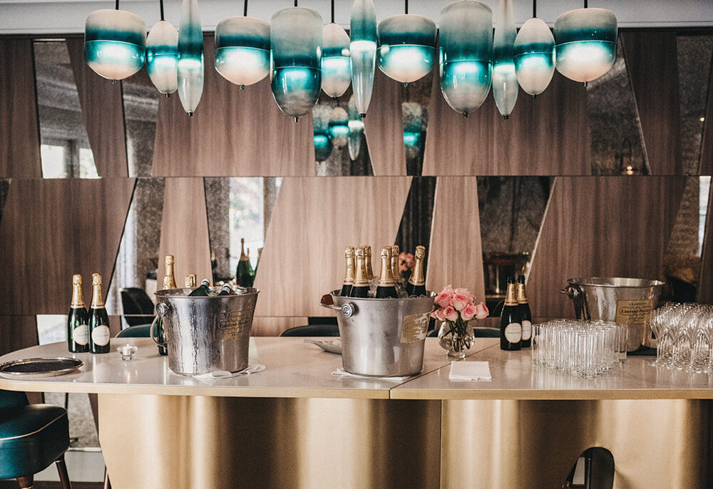 Laurent Perrier Champagne bar on arrival