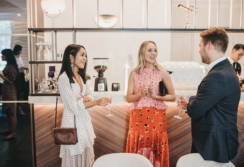 Newlyweds Tate and Manuri Stubbs with blancspace co. Founder Erin Fraser
