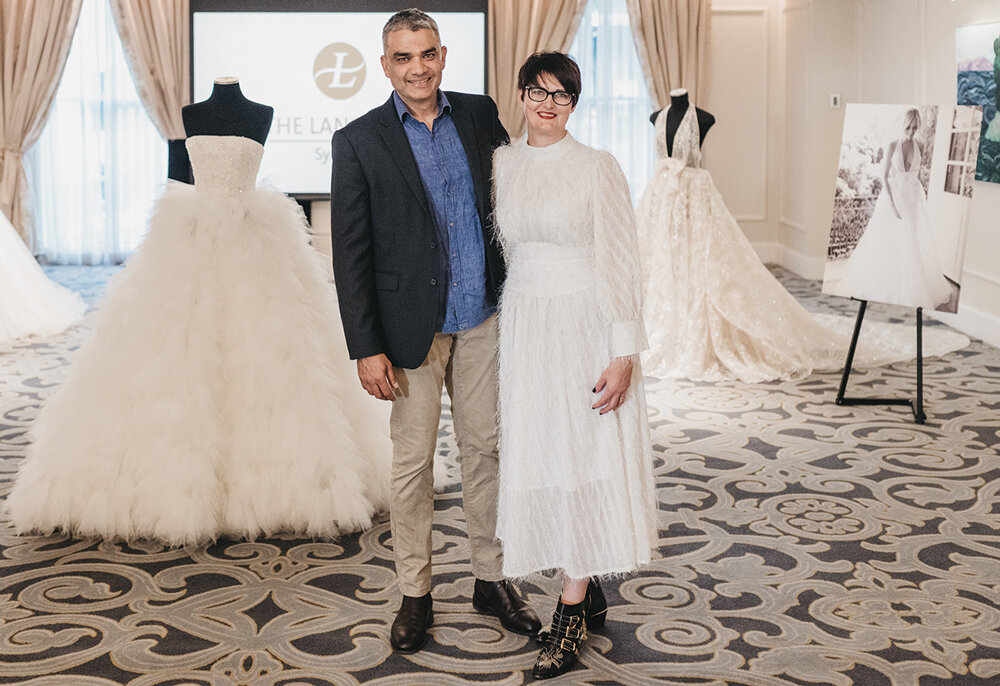 Chris and Helen Rodrigues with the Helen Rodrigues Bridal Installation