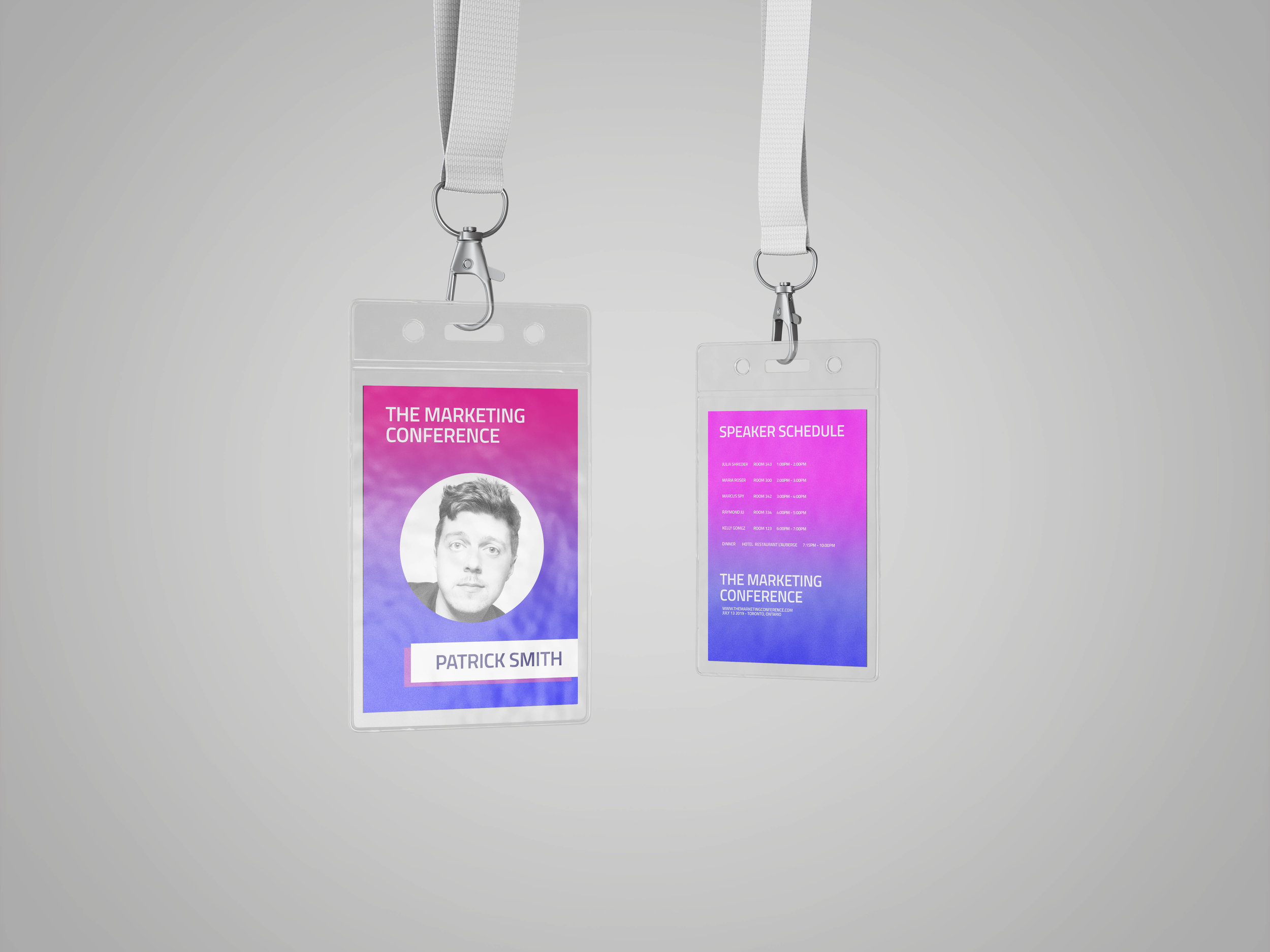 Add a schedule to the back of your ID badge so people know where to go at all times.