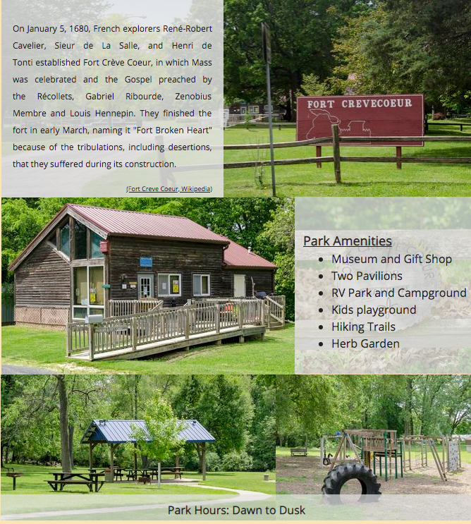 Fort Creve Coeur Camping - Campers Must Register at Creve Coeur Village Hall, 103 North Thorncrest Avenue, Creve Coeur, Illinois 61610Registration Hours: Monday - Friday 9:00 am - 5:00 pmNo weekend registration unless prearrangements have been madePlease call (309)699-6714 extension 721 or 722RV Camping Rates:                                            $25/Day                                            $150/Week                                            $350/Month                                                       Tent Camping Rates:                                            $15/Day